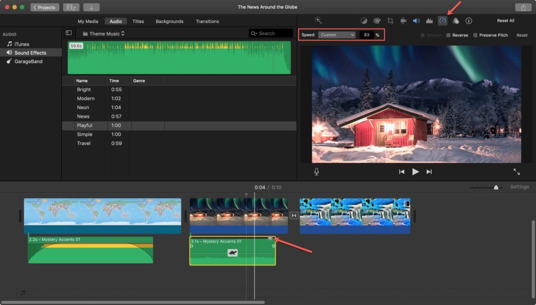 Изменение скорости видеоклипов iMovie на Mac