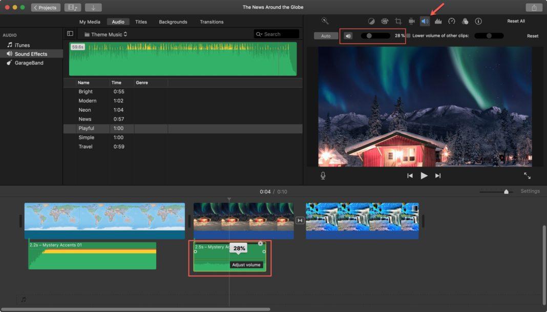 Регулировка громкости видеоклипа iMovie на Mac