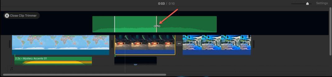 Обрезка видеоклипов iMovie на Mac