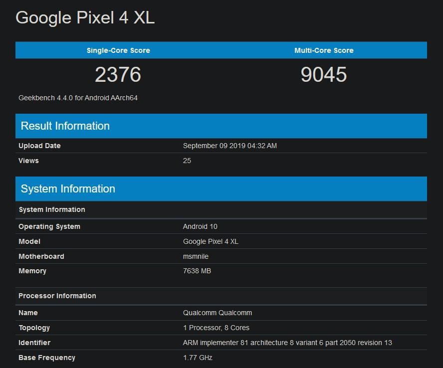 Google Pixel 4 XL GeekBench