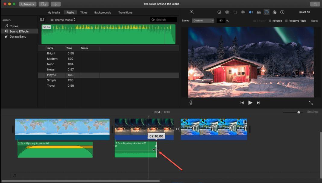 Удлинение или укорочение видеоклипов iMovie на Mac