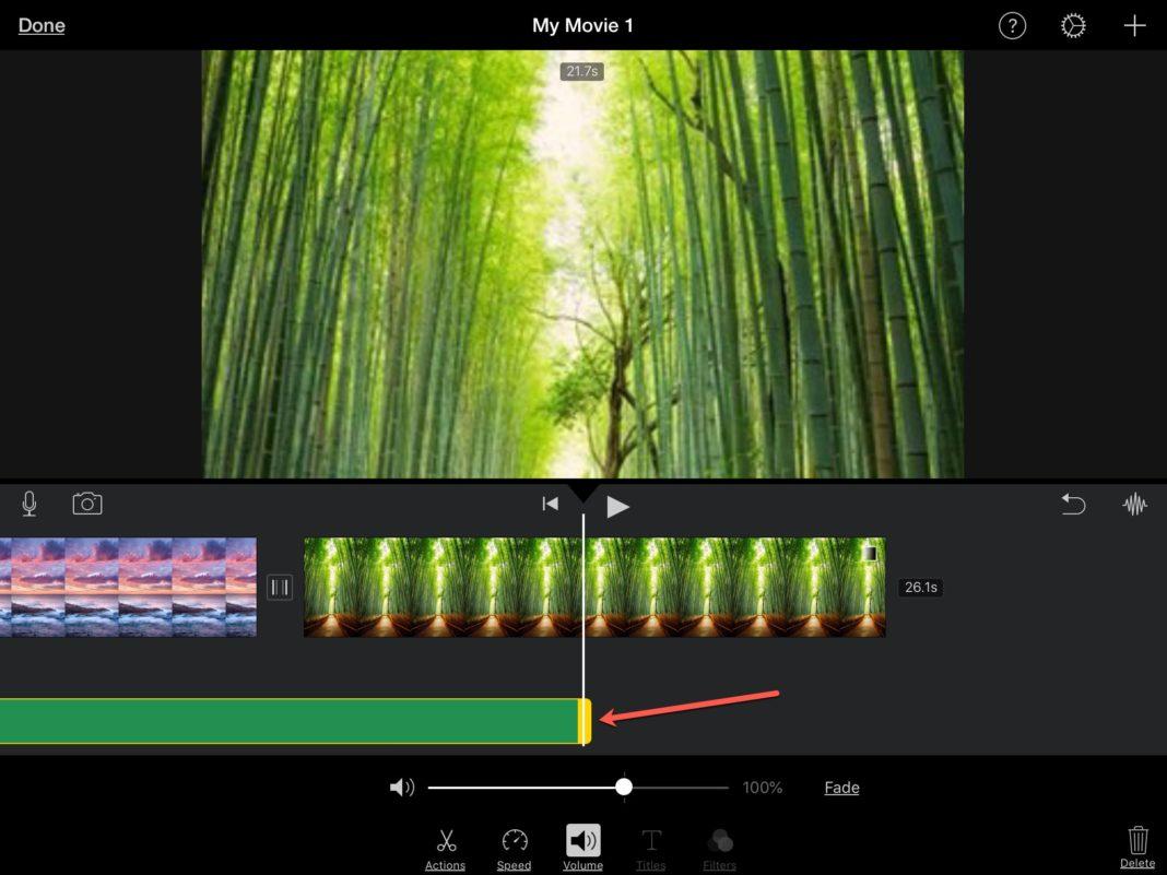 Обрезка аудио клипов iMovie на iOS