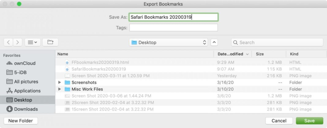 Экспорт закладок из Safari
