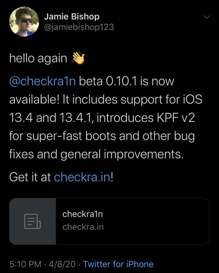 Checkra1n v0.10.1 с поддержкой iOS 13.4 &13.4.1