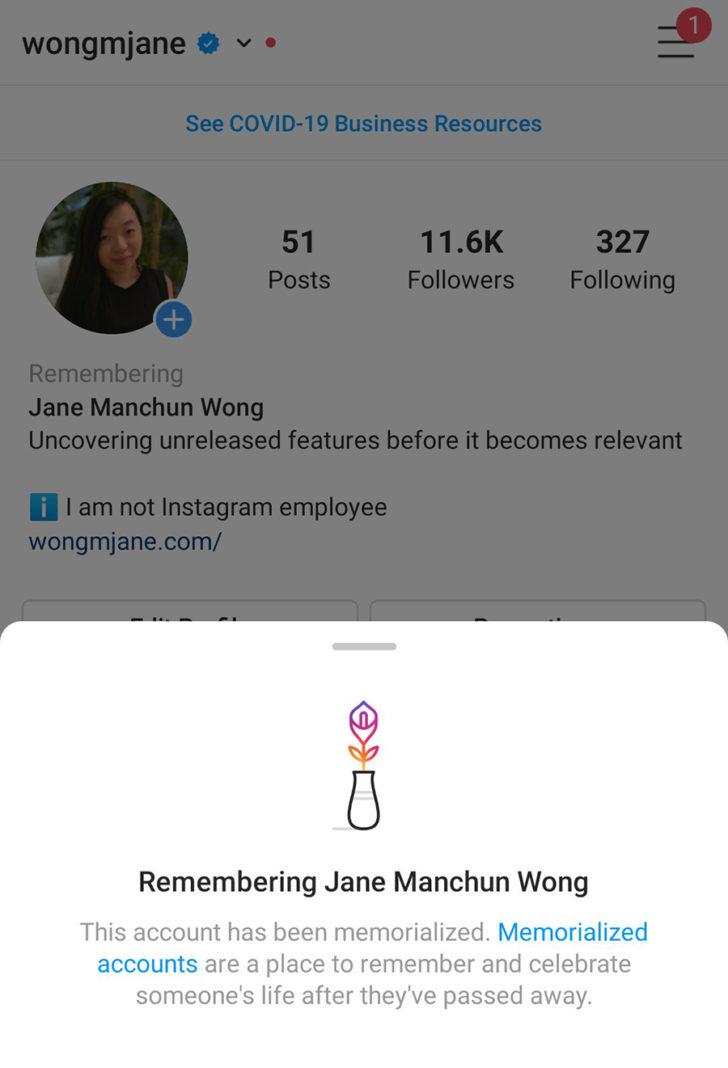 В Instagram появится пометка для «умерших» профилей