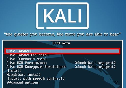 Kali linux live