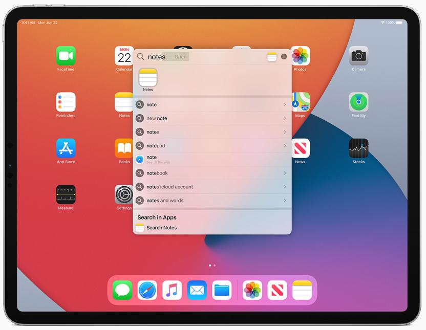 iPadOS 14 поиск