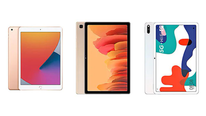 iPad 8 vs Samsung Galaxy Tab A7 vs Huawei MatePad 5G