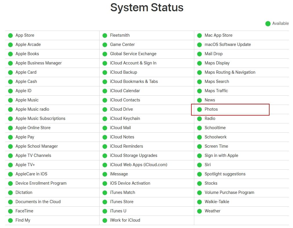 Состояние сервисов Apple