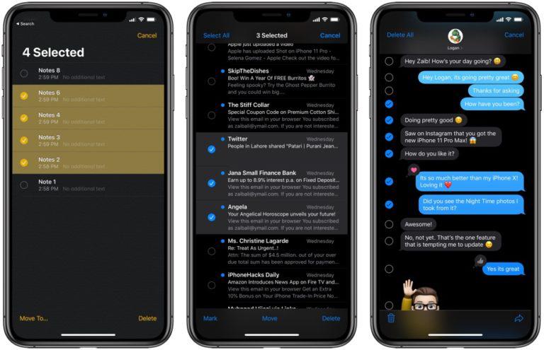 iOS Быстрый выбор элементов
