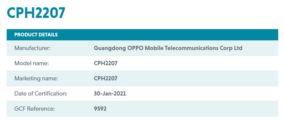 OPPO CPH2207 GCF
