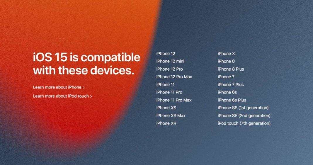 Устройства поддерживаемые iOS 15
