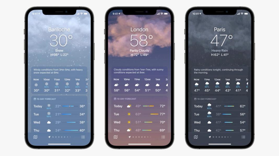 iOS 15 погода